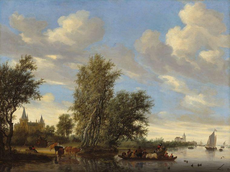 Salomon_van_Ruysdael_-_Rivierlandschap_met_veerpont_(1649)