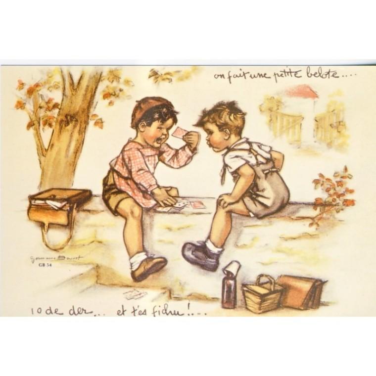32 - carte-postale-germaine-bouret-on-fait-une-petite-belote