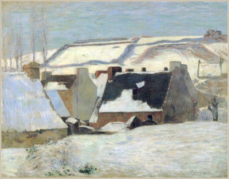 POnt Aven sous la neige paul gauguin