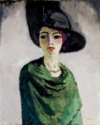Kees van dongen, la dame au chapeau noir-Lady in a black at