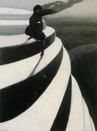 escalier et femme